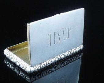Silver Snuff Box, Chinese Export, Antique, Trinket, Yatshing of Canton c.1830, REF:26Y