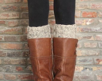 Woodstock Cable Knit Boot Cuffs in Oatmeal