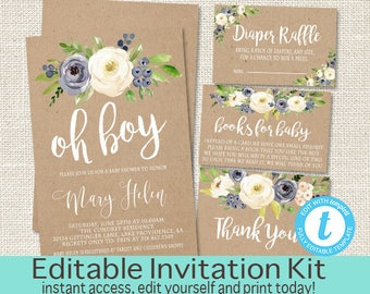 Rustic Baby Shower Invitation Kit, Blue Floral Watercolor, Kraft Baby Boy Shower invite, Watercolor Floral baby Invitation, Instant Download