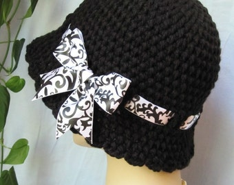 READY TO SHIP Medium or Large Crochet Cloche Womens Hat, Black and White, Ribbon, Birthday Gifts, GIfts Under 50, Photo Props, JE276CRALL