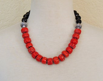Red Coral Statement Necklace, Black Jet Glass, Beaded Necklace, Red Strand Necklace, Coral Jewelry, Statement necklace, Christmas