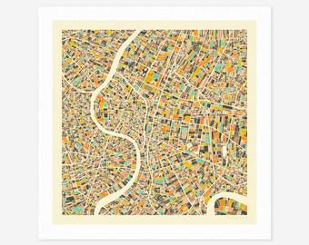 BANGKOK MAP (Giclée Fine Art Print/Photo Print/Poster Print) by Jazzberry Blue (ivory version)