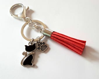 Keychain/Ring cat, paw and tassel light red/Silver
