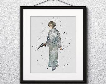 Princess Leia Watercolor Print, Star Wars Painting, Star Wars princess, Nursery, Kids Room Decor, Wall Art