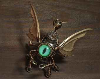Steampunk Flying Octopus Cthulhu Minion Robot with green eye