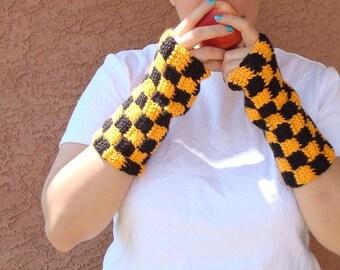 Checkered Black and Orange Fingerless Gloves for Men or Women, Crochet Fingerless Gloves, Arm Warmers, Wrist Warmers, Checker MADE TO ORDER