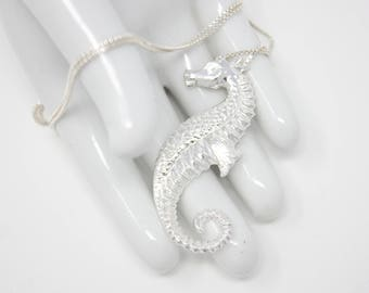 Seahorse- Fine Silver Pendant with Chain