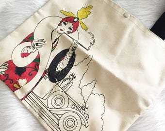 Canvas Tote - Vintage 1920s Flapper Shopping bag with black handles feldco 1979