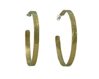 Large gold or silver hoop earrings, gold 2 inches hoop, brass jewelry, hammered loop, stud circlet, custom hoop, narrow earrings, thin stud