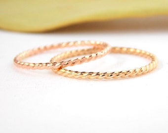 Gold-filled Simple Twisted Rope Ring: 14K Gold-filled ring, twisted ring, dainty ring, simple ring, stacking ring, skinny ring, small ring