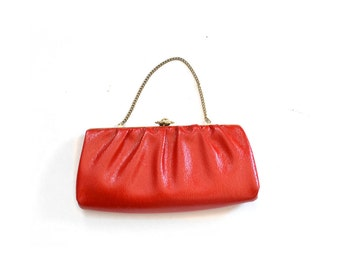 Red clutch, red purse, red bag vintage, 1960s purse, 1950s bag, 50s bag, 60s purse,  red vintage bag, red vintage pursue, red vintage clutch