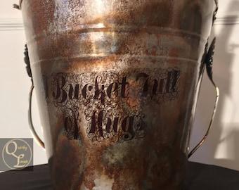 Rustic Bucket Wine Bucket Beer Bucket  Ice Bucket Garden Bucket Tin Planter Tin Bucket Planter Pail Quirky Bucket