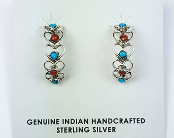 Native American Navajo handmade Sterling Silver Turquoise Coral stone stud heart earrings