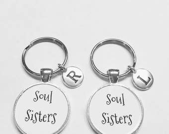 Best Friend Gift, Soul Sisters Keychain, Initial Keychain Best Friends Keychain, Bff Friends Gift Keychain Set