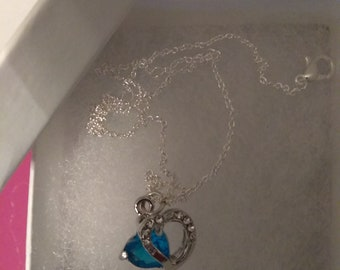 Sapphire blue sterling silver heart charm necklace
