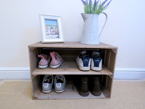 shabby chic wooden shoe rack with extra depth rustic rh etsy com shabby chic shoe rack uk shabby chic small shoe rack