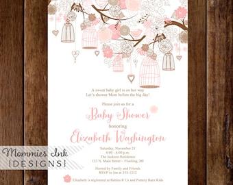 Baby Shower Invitation, Birdcage Invitation, Pink and Brown Invitation, Birds and Birdcages Invitation, Bridal Shower Invitation