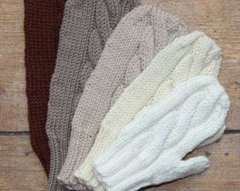 Knitting pattern for easy cabled mittens - todder to adult sizes