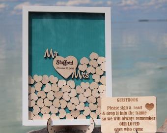 Mr and Mrs Sign Guest Book Wedding Guest book hearts Wedding guestbook Drop box Guest Book Wooden wedding guest book Rustic Oak frame