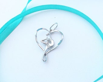 Sterling silver rhytmic Gymnast with ribbon pendant