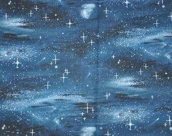 1/2  Yard of Midnight Blue Sky Stars 100% Cotton Quilt Fabric