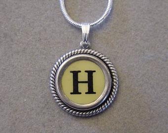 Typewriter key jewelry necklace CREAM  LETTER H  Typewriter Key Necklace Initial Necklace