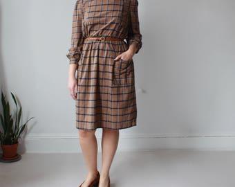 plus size vintage dress   brown navy windowpane plaid dress, XL