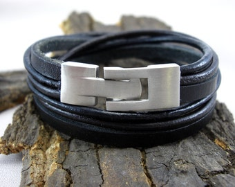 Leather Bracelet black for men