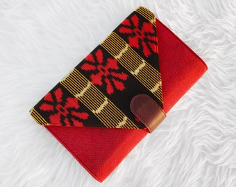 "Ikat Clutch - ""Esther Grace"" in Red Rose"