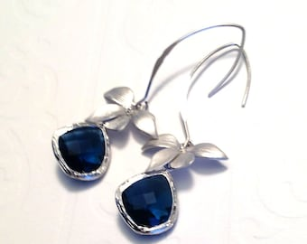 Blue drop orchid earrings, Blue Orchid earrings, Blue Drop Orchid, dangle Earrings, wedding orchid jewelry, Orchid jewelry,Black Friday gift