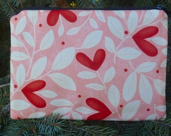 Hearts make up bag, makeup case, accessory bag, zippered pouch, zippered bag, heart blossoms, The Scooter