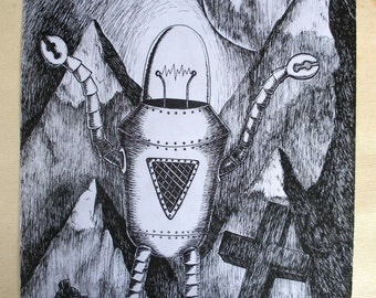 Monster of Moonstone Ridge - original pen and ink robot drawing- FREE WORLDWIDE SHIPPING