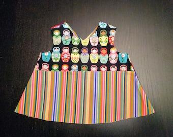 Reversible Nesting Doll Dress 12 months, Rainbow Matryoshka