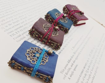 Steampunk Tiny Book Necklace- mini book journals, travel journals, mini notebooks, handmade books, pendants, gifts for writers