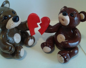 Couple of Bears in love handmade figurine