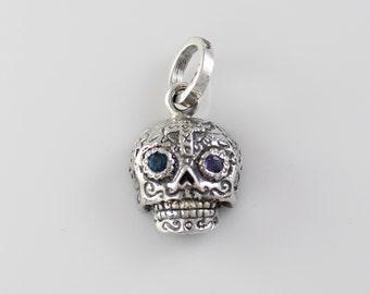 Handmade Sterling Silver Mini Cross Sugar Skull Pendant