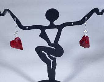 Swarovski Crystal Slant Heart Earrings