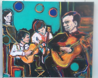 20x24 inch Original Acrylic Figurative Music Instrument inspired painting on canvas // guitar - 'within the heart'