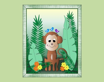 Jungle Monkey Wall Art Decor for Kids Room or Baby Nursery Gift, Print Only (JMonkey02)