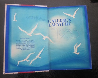 Antique French desk diary 1935 AGENDA of Galeries Lafayette Paris-Calendar-Holidays to wish-Sign Zodiac-Recipe Kitchen-Map Tramway-Funicular