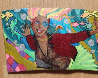 Sandman coffee cup sleeve - Delirium (varnished and re-usable)