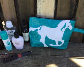 Shack Sack Toiletry/Utility Bag -Recycled Horse Feed Sack - Aqua Horse