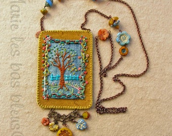 Embroidered tree amulet