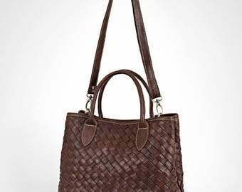 Leather bag - brown leather bag - leather purse - woven leather bag - leather crossbody bag - leather handbag - leather bag women - |hc|