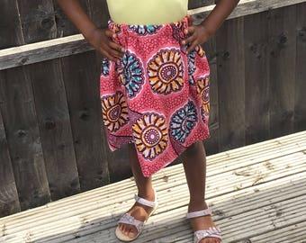 African Print Girls Skirt, Ankara Skirt, Summer Skirt, Girls Skirt