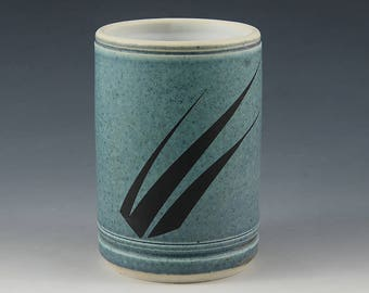 "Blue Jean Turquoise - Porcelain Cup ""3 Grass"" graphic image fired in."