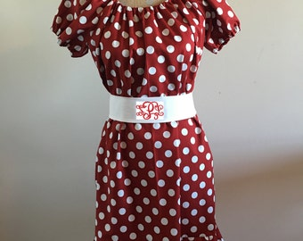 Girls Crimson & White Polka Dot Peasant Dress with Sash and optional Monogram