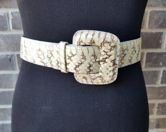 Snakeskin Belt,Rider Pant Belt,Large Buckle Belt,Western Belt,Yellow Snakeskin Belt,Vintage Woodward Skin Belt,Vintage Belt,Belt Collector