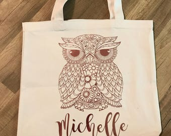 personalized owl tote