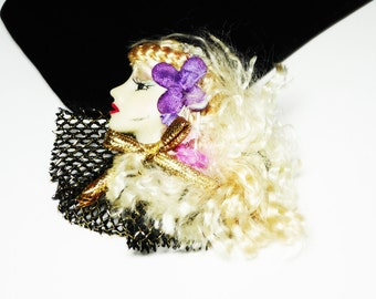 Woman's Head Brooch - Profile Pin - Fashions of the World - Long Blonde Hair - Purple Pink Gold and Black - Retro 1980's - 1990's
